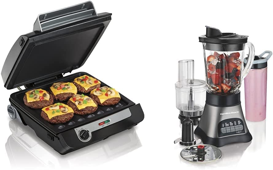 Hamilton Beach 4-in-1 Indoor Grill & Electric Griddle Combo with Bacon Cooker, Black&Silver & Wave Crusher Blender with 40oz Jar, 3-Cup Vegetable Chopper, and Portable Blend-In Travel Jar, Grey&Black