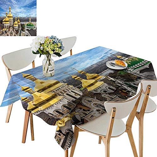 UHOO2018 Printed Fabric Tablecloth Square/Rectangle Kiev Ukraine Cupola pechersk lavra Monastery River Wedding Party Restaurant,54 x107inch ()