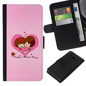 All Phone Most Case / Oferta Especial Cáscara Funda de cuero Monedero Cubierta de proteccion Caso / Wallet Case for Samsung Galaxy A3 // Love Cute Couple Heart