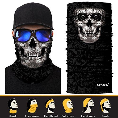 JOEYOUNG 3D Headwear, Skull Face Mask, Magic Scarf, Neck Gaiter, Bandana, Balaclava, Headband for Cycling, Motorcycling, Running, Skateboarding, Moisture Wicking UV Protection, Great for Men & (Great Skull Masks)