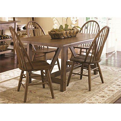 Liberty Furniture Farmhouse Dining 5-Piece Trestle Table Set, Weathered Oak Finish
