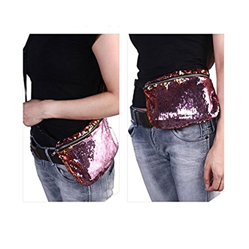 848e2f801652 ZTMY Glitter Sequins Bag Waist Bag Pack Sports Casual Bag Bling Shining  Strap Should Bag Double Color Sequins Evening Party Bag Multifunctional ...