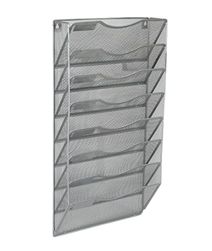 EasyPAG Office 8 Pocket Wall File Holder Organizer Hanging Magazine Rack,Silver ()