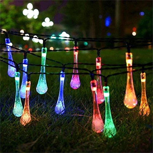 Aluvee Solar Outdoor String Lights 2- Pack 19.7ft 30 LED Water Drop Fairy String Lighting for Indoor/Outdoor Home Patio Lawn Garden Party Wedding Christmas Holiday Decorations (Multi Color)