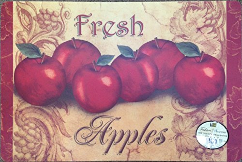 4 Apples Kitchen Placemats with Foam Backing. Measures 18