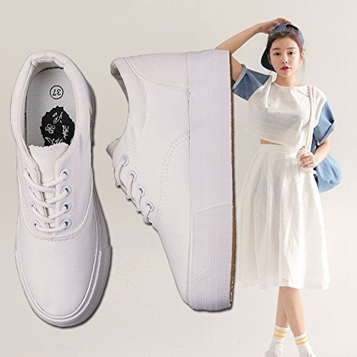 Cybling Casual Confort Simple Lace Up Semelles Épaisses Chaussures Mode Sneakers Formateurs Blanc