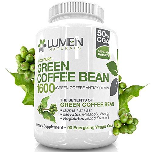Extracto de grano de café verde puro - fuerza máxima de quemador de grasa - 90 cápsulas potente para acelerar la pérdida de peso - ácido clorogénico intercepta y quema glucosa y grasa, disminuye la liberación de azúcar en el torrente sanguíneo para evitar