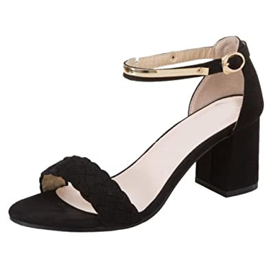 TAOFFEN Damen Sandalen Schuhe mit Absatz  Black