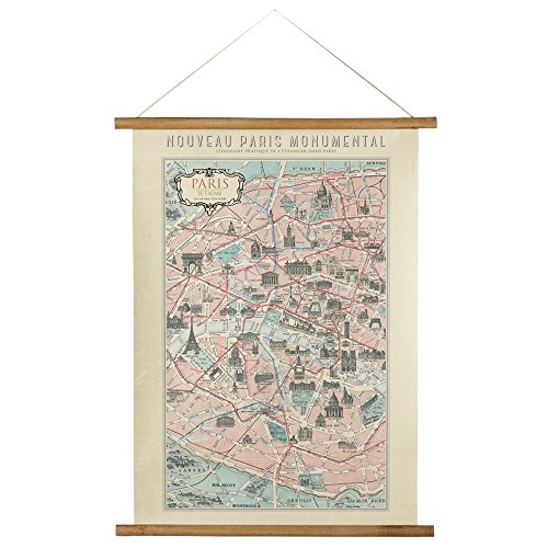 Art Expressions Paris Decor Vintage Style Scroll Map Wall Art (Map Scroll)