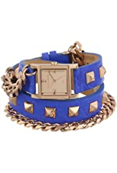Vince Camuto Women's VC/5088RGBL Square Rose Gold-Tone Double-Wrap Blue Leather Strap Watch