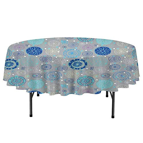 Doodle Printed Round Tablecloth Abstract Snowflakes with Beige Background Winter Celebration Theme Christmas Desktop Protection pad D70 Inch Beige Aqua Blue]()