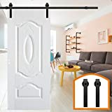HomeDeco Hardware 11 FT American Style Sliding Wood Barn Door Steel Hardware Dark Brown Sliding Track Kit Basic J Style