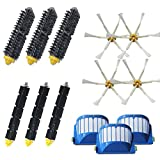 Amyehouse Accessory Replacement Kit of Bristle Brushes & Flexible Beater Brushes & 6-Armed Side Brushes & Aero Vac Filters for iRobot Roomba 600 Series 614 620 630 650 660 680 690 Vacuum Cleaner Parts