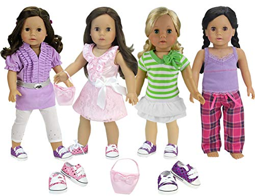 - 4 Seasonal Complete Doll Wardrobe (12 Pc Set) Doll Top, Belt, Leggings, Striped Top, White Skirt, Pink Shirt, Skirt, Purse, Casual Tank, Flannel Pants & 2 Pair of Sequin Sneakers for American Doll