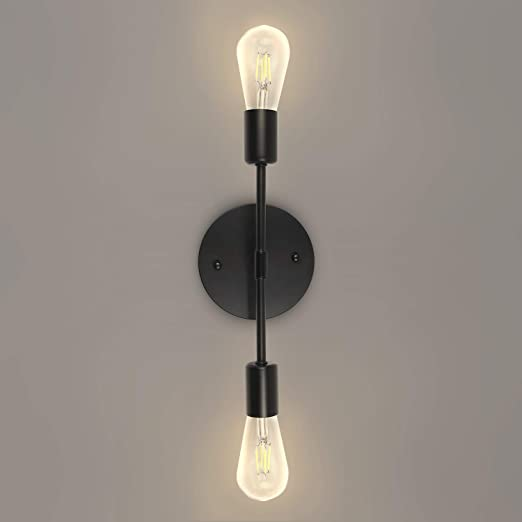 2-Light Modern Farmhouse Bathroom Vanity Light Fixtures Industrial Black Wall Sconce for Bedroom Living Dining Room Hallway (1 Pack)