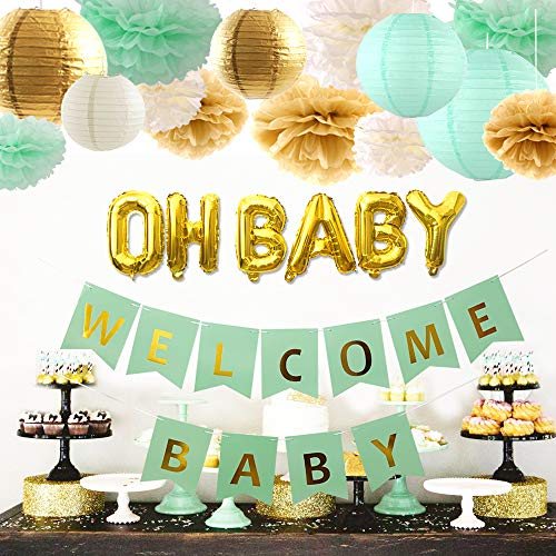 luckylibra Baby Shower Decorations Neutral,Welcome Baby Banner &Oh Baby Foil Balloon & Paper Lanterns, Paper Flower Pom Poms (Mint Green, Cream, Gold) -