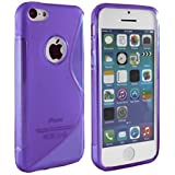 Connect Zone® Purple S-Line Gel Skin Case Cover for IPhone 4/4G/4S - with Screen Protector + Polishing Cloth & Mini Touch Screen Stylus