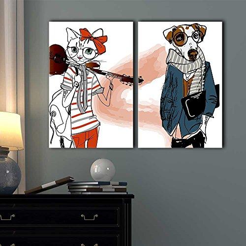 2 Panel Cartoon Animals Miss Cat and Mr Dog Gallery x 2 Panels