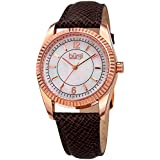 Burgi Skinny Leather Women's Watch with Swarovski Crystal Markers on Mother of Pearl Dial –Embossed Brown Designer Bracelet Band – Japanese Quartz – BUR167GY
