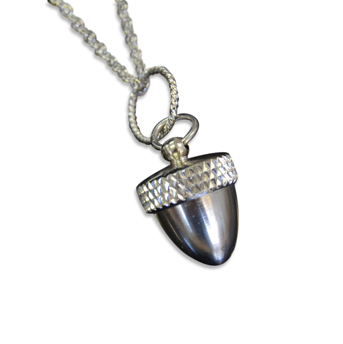 Stainless Steel Acorn Capsule Pendant Necklace - Screw Top Cremation Ashes Jewelry (18 Inches)