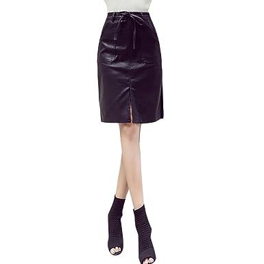 Zhhlaixing Falda Mujer Falda de Cortas Tie PU Cuero Skirt Wrap Hip ...