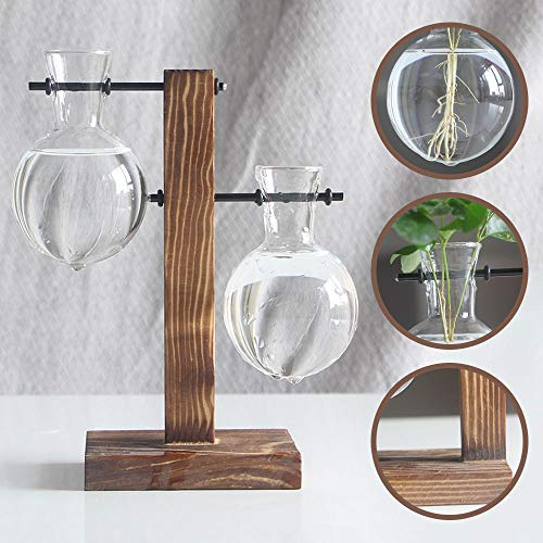(Water Planting Glass Vase,Clear Glass Vase Hanging Plant Terrarium with Retro Solid Wooden Stand for Hydroponics Plants Home Garden)