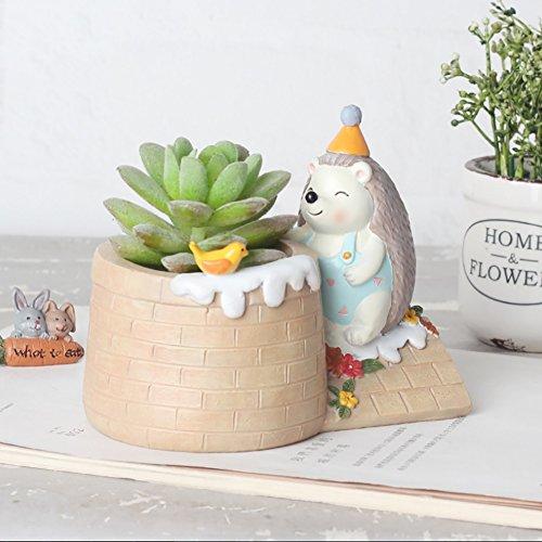 (Peyan Cute Forest Hedgehog and Bird Succulent Pots with Drainage Resin Mini Flower Pot Garden Plants Vase Desk Flower Decoration BEST Gift to Kids Family Friend)