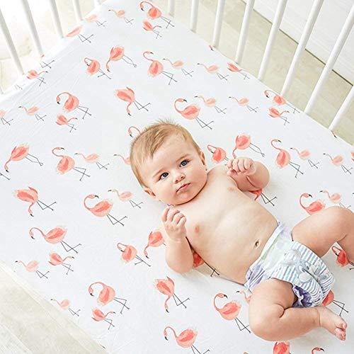Flamingo Crib Sheet - Jersey Cotton Crib Mattress for Toddler Bed, Baby Sheets for Crib Toddler Bed Sheets Girl Crib Sets for Girls (Flamingo)
