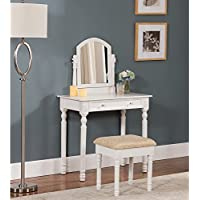 K and B Furniture Co Inc K & B White/ Ivory Vanity Stool