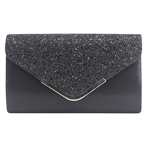 Faux Leather Black Party Shoulder Wocharm Evening Sequin Purse Envelope Clutch Handbag Eqnftv