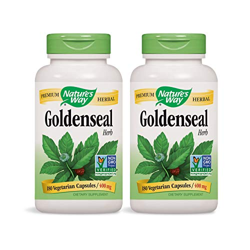 Nature s Way Premium Herbal Goldenseal Herb 400 mg, 180 Vegetarian Capsules, Pack of 2
