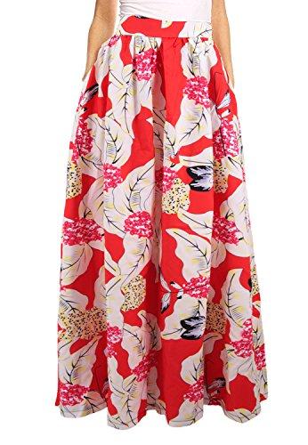 Novia's Choice Women African Floral Print Pleated High Waist Maxi Skirt Casual A Line Skirt(Red Flower 3) M