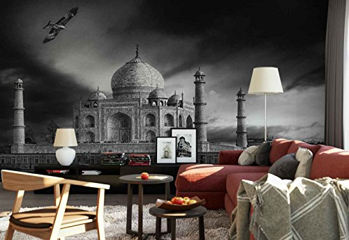Photo wallpaper wall mural - Taj Mahal Temple Black And White - Theme Travel & Maps - XL - 12ft x 8ft 4in (WxH) - 4 Pieces - Printed on 130gsm Non-Woven Paper - 1X-771676V8 by Fotowalls Photo Wallpaper Murals