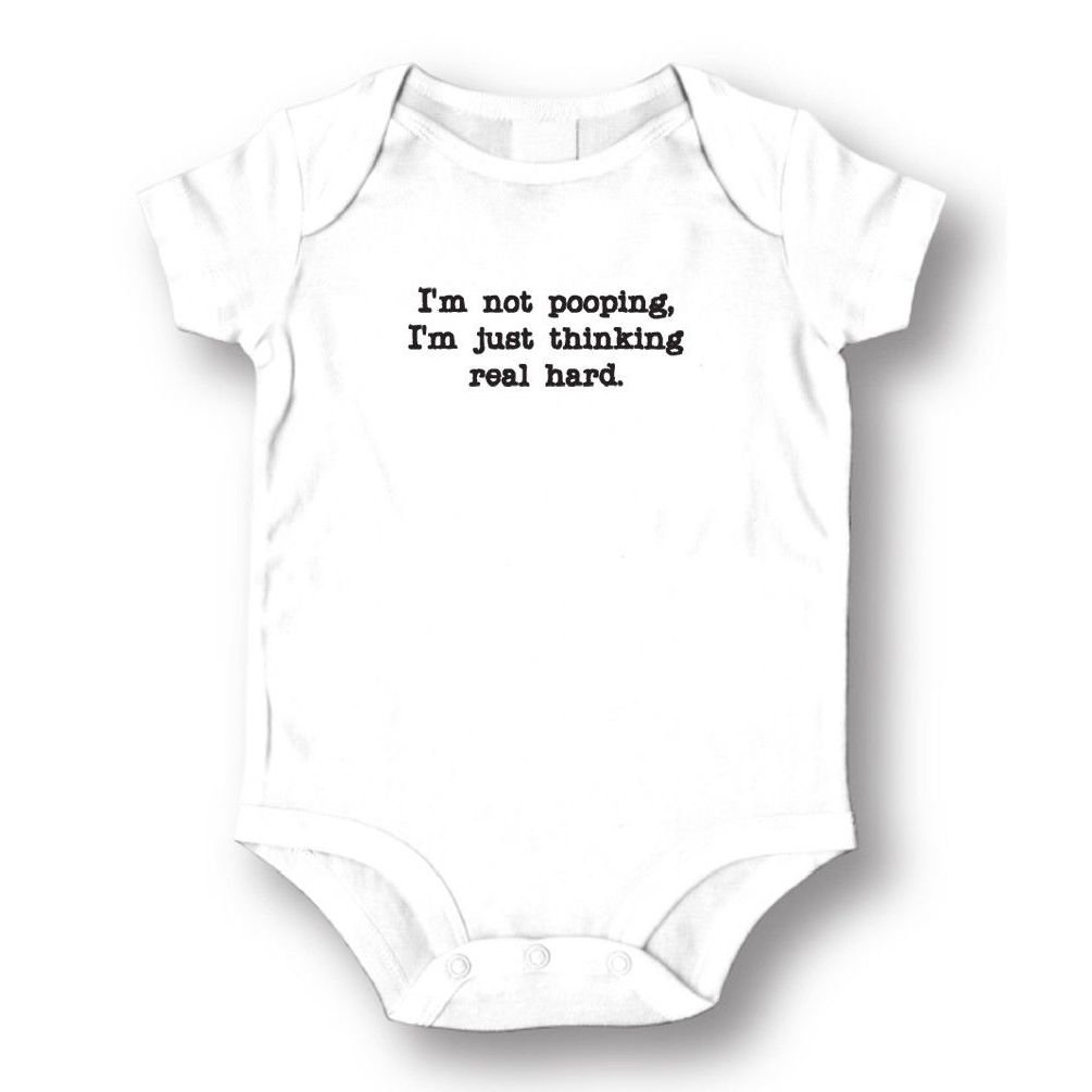 Dustin clothing series Not Pooping I'm Just Thinking Real Hard Baby Boys Girls Toddlers Romper 0-24M