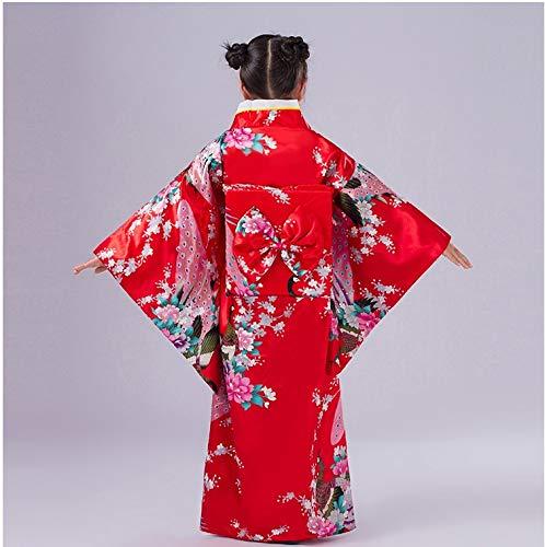 Bata de kimono con traje tradicional japonés para disfraz de niñas niños (Red110cm)