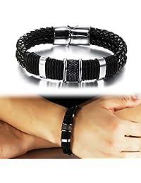 Suyi Wide Braid Black Leather Bracelet Men's Stainless...