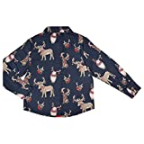 CrayonFlakes Dark Blue Cotton Long Sleeve Shirt with Animal Prints