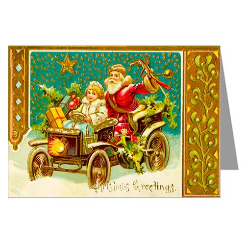 Classic Christmas Card (Classic Vintage Christmas Card Showing Santa and Girl Driving Car with Presents, Victorian Holiday Notecards Boxed Set)