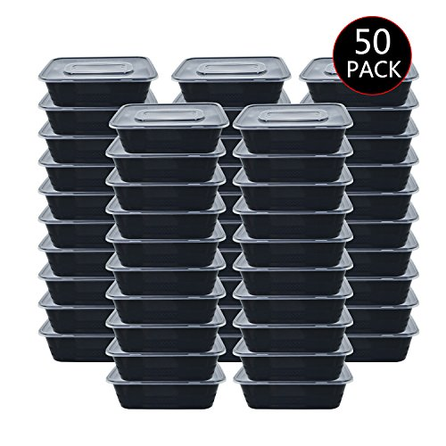 IUME 50 Pack Disposable Plastic Lunch Box Reusable Meal Prep Containers Healthy Food Storage with Lids for Microwaveable Dishwasher Freezer Safe 750ML 26 - Sugar Dish Open