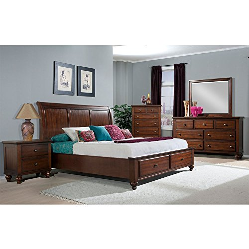 Cambridge Newport Storage Five Piece Suite: King Bed, Dresser, Mirror, Chest, Nightstand Bedroom Furniture Sets King Sleigh Bedroom Suite