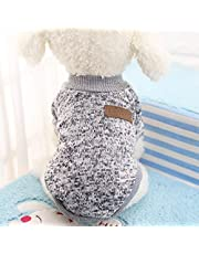 Lanlan Dog Classic Sweaters, Pet Puppy Warm Clothes, Winter Soft Cat Jacket Coat Hoodies For Chihuahua Yorkie Greyish white; XS