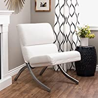 Rialto Bonded Leather White Chair Rust-colored Faux Leather Upholstery Brings a Warm Feel to Your Space