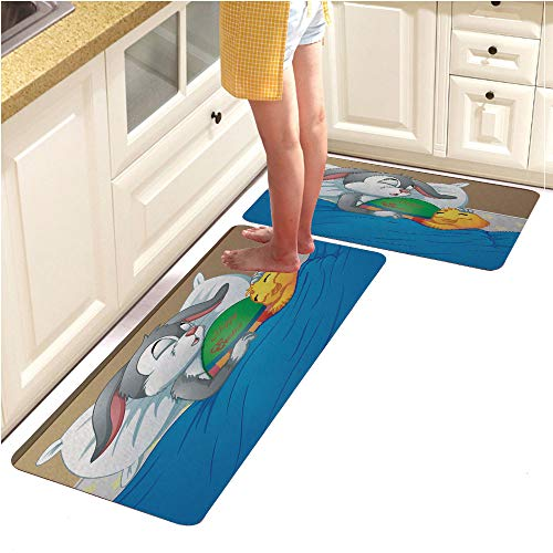 Microfiber Kitchen Rug Runner Set 2 Piece Non Slip Absorbent Mats Runner Set,Easter Rabbit and Chicken Easter Sleeping Together in Bed with Easter Egg (18