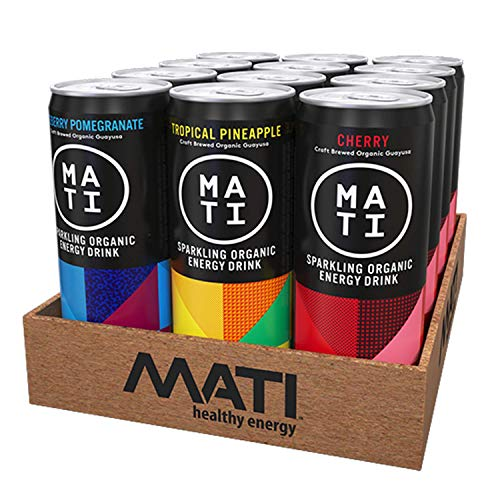 MATI Sparkling Organic Healthy Energy Drink, All Natural Craft Brewed Guayusa, No Added Sugar, Naturally Sweet Variety, 12 Fl Oz Cans (Pack of 12) Plant Based Energy, NON-GMO, Vegan, Antioxidants