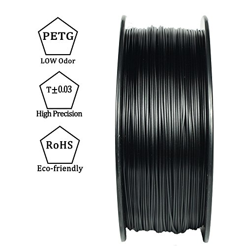 3D BEST-Q PETG Black 1.75mm 3D Printer Filament, Dimensional Accuracy +/- 0.03 mm, 1KG Spool, Black