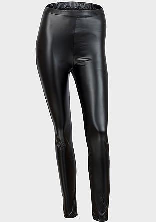 e764fd420e00 Ex River Island Black Wet Look Faux Leather Skinny High Waist Shiny Leggings  (14 Long): Amazon.co.uk: Clothing