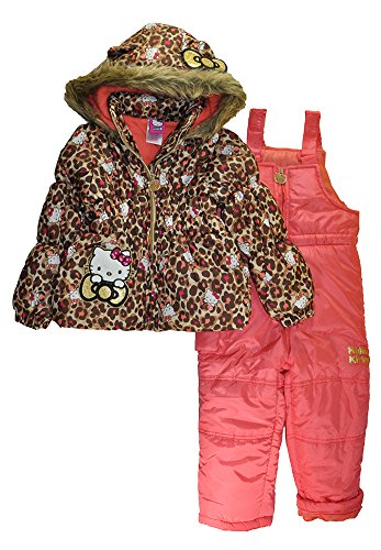 Hello Kitty Little Girls 2pc Printed Snowsuit, Multi Leopard 3T -