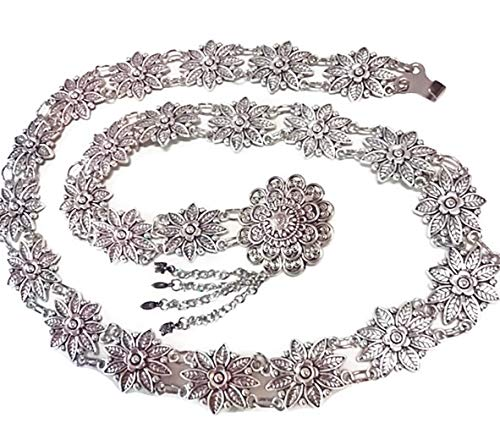 (PunPund Silver Plated Thai Belts Women Vintage Orchid Plate Metal Dress Costume Traditional Length 41