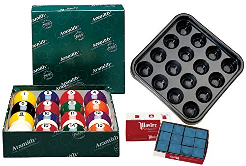 Aramith Premier Billiard Ball Set Bundle with 12 pcs Master Brand Blue Chalk and Plastic Ball Tray