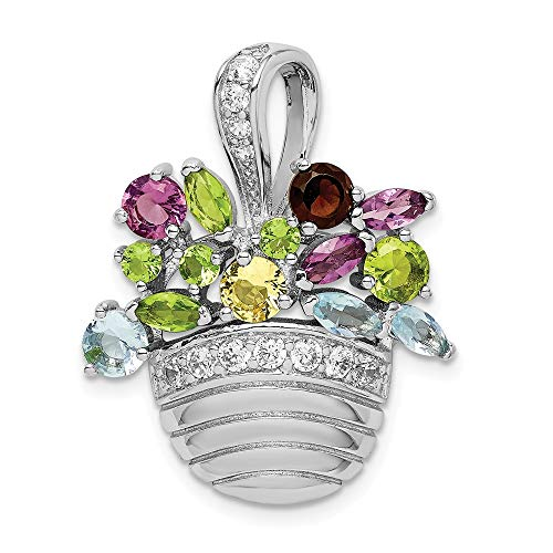 Jewels By Lux 925 Sterling Silver Rhodium-Plated Multi-Color Gemstone Basket Pendant Pin ()